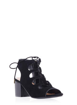 Faux Suede Ankle Boots with Open Toes and Front Lace Accent - 3111004067737
