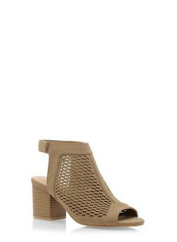 Lasercut Faux Suede Sandals - 3111004067738