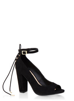Faux Suede Open-Toe Pumps with Lace-Up Counter - 3111004067767