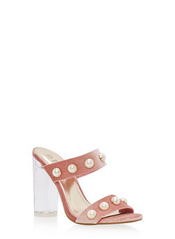 Faux Pearl Studded Clear High Heel Sandals - 3111004068776