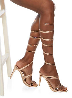 Coiled Ankle Wrap High Heel Sandals - 3111004068785