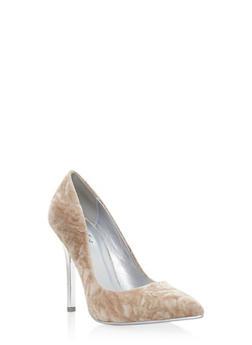 Crushed Velvet Pointed Toe Pumps - 3111006512662