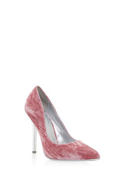 Crushed Velvet Pointed Toe Pumps - 3111006512662