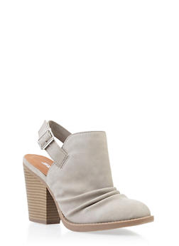 Faux Nubuck Ruched Booties with Chunky Stacked Heels - 3111006514372