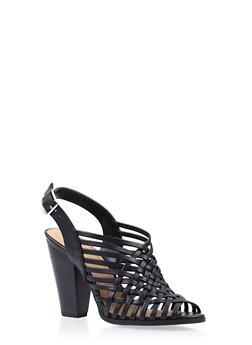 Woven Slingback Heels with Open Toe - 3111006514455