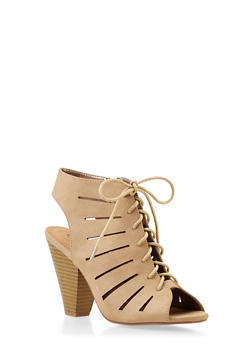 Open-Toe Lasercut Sandals with Lace-Up Front - 3111006516683