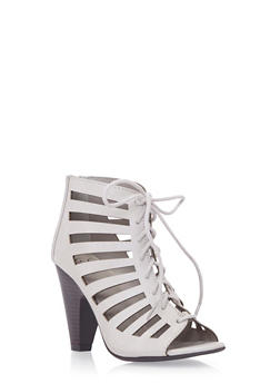 Lace-Up Ankle Boots with Open-Toes - 3111006517424