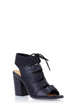 Open-Toe Lasercut Sandals with Lace-Up Front - 3111006517846