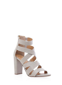 Strappy Open-Toe Sandals with Block Heel - 3111006518643