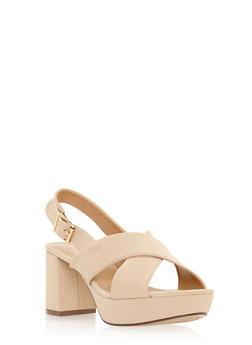 Faux Suede Criss Cross Slingback Platform Sandals - 3111014062264