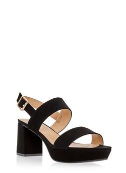 Faux Suede Double Strap Platform Sandals - 3111014062265