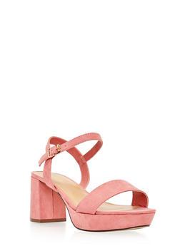 Faux Suede Platform Ankle Strap Sandals - 3111014062266