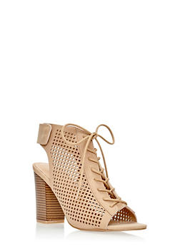 Lasercut Lace Up Chunky Block Sandals - 3111014062377