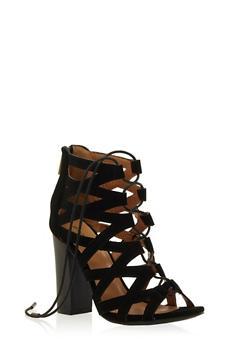 Strappy Open Toe Lace Up Heels - 3111014063626