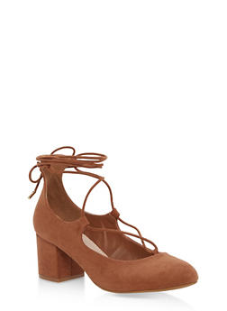 Block Heel Lace Up Ghillie Tie Pump - CAMEL - 3111014065466