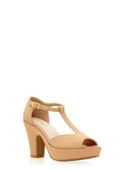 Platform T-Strap Sandals with Chunky Heels - 3111014066459