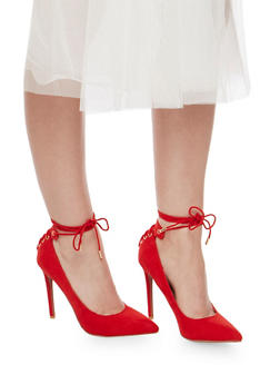 Pointed High Heel Lace Up Pumps - 3111014067484