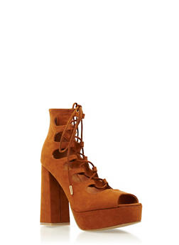 Faux Suede Lace-Up Platform Pumps - 3111014067745