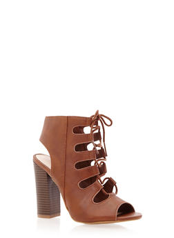 Faux Leather Lace-Up Stacked Heels with Open-Toes - 3111014067827