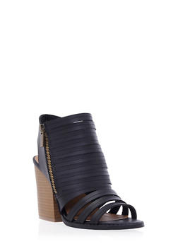 Faux Leather Cage Sandals with Open Toes and Stacked Heels - 3111029912276