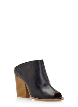 Faux Leather Open-Toe Sandals - 3111029912277