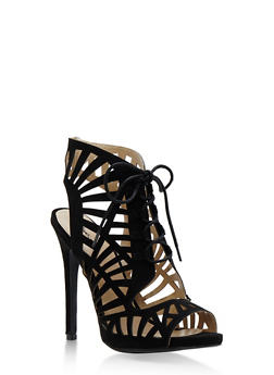 Lasercut Open Toe Lace Up Sandals - 3111029914537