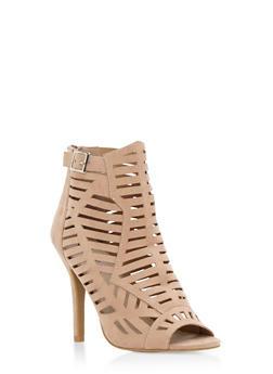 Lasercut Open Toe High Heel Sandals - 3111029915284