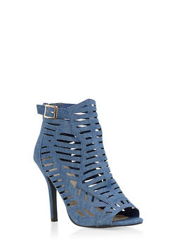 Lasercut Open Toe High Heel Sandals - 3111029915284