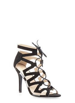 Faux Suede Ghillie Lace Up High Heel Sandal - 3111029915285