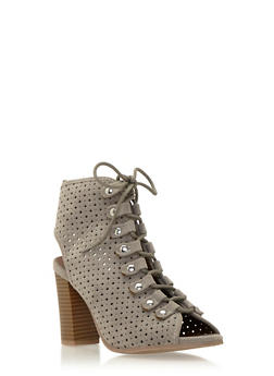 Lace Up Ankle Boots in Lasercut Faux Suede - 3111029915825