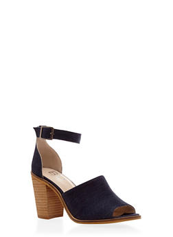 Peep Toe Heeled Sandal with Ankle Strap - 3111057181606