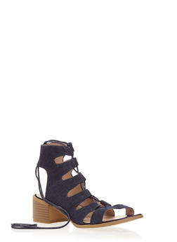 Lace Up Sandals with Block Heel - 3111057181609