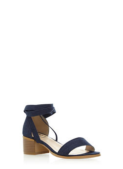 Lace Up Ankle Sandal with Heel - 3111057181610