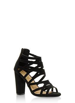 Strappy Open Toe High Heel Sandals - BLACK F/S - 3111057195254