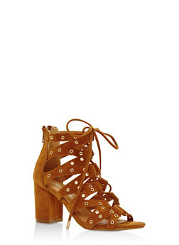 Lace Up Grommet Chunky Heel Sandals - 3111057196623
