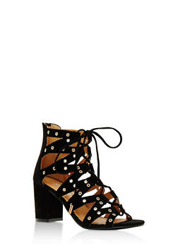 Lace Up Grommet Chunky Heel Sandals - BLACK F/S - 3111057196623