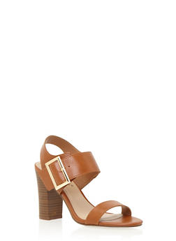 Faux Leather Sandals with Chunky Stacked Heels - 3111065487284