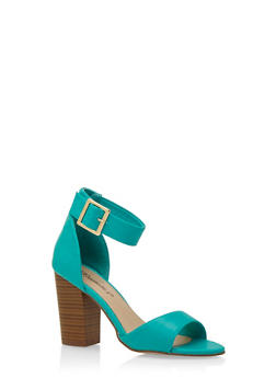 Faux Leather Sandals with Chunky Stacked Heels and Ankle Strap - 3111065487367