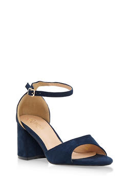 Faux Suede Open Toe Block Heel Sandals - 3111068752274
