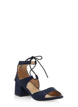 Faux Suede Lace Up Sandals - NAVY - 3111068753674