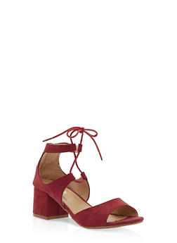 Faux Suede Lace Up Sandals - 3111068753674