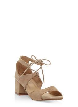 Faux Suede Lace Up Sandals - 3111068753674