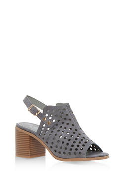 Faux Suede Lasercut Block Heel Sandals - 3111068755747