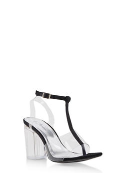 T Strap Clear High Heel Sandal - 3111070405825