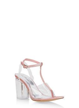 T Strap Clear High Heel Sandal - 3111070405825