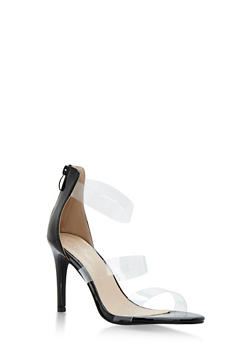 Clear Strap High Heel Sandals - BLACK - 3111070407692