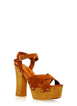 High Heel Criss Cross Platform Sandals - 3111073112753