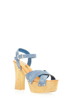 High Heel Criss Cross Platform Sandals - 3111073112753