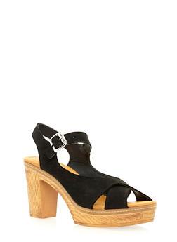 Criss Cross Platform Sandals - 3111073114655