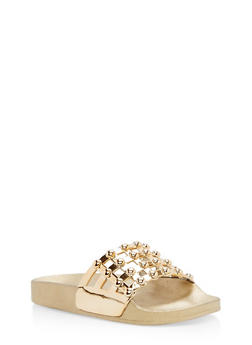 Faux Patent Leather Studded Slides - GOLD/GOLD - 3112004062476